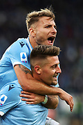 Sergej Milinkovic Savic of Lazio celebrates with Ciro Immobile after scoring during the Italian championship Serie A football match between SS Lazio and US Lecce Sunday, Nov. 10, 2019 at the Stadio Olimpico in Rome. SS Lazio defeated US Lecce 4-2. (Federico Proietti/Image of Sport)