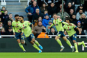 Harry Wilson (#22) of AFC Bournemouth celebrates AFC Bournemouth's first goal (0-1) during the Premier League match between Newcastle United and Bournemouth at St. James's Park, Newcastle, England on 9 November 2019.