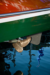"""Wooden Boat Prop at Tahoe 2"" - Photograph of the prop of a classic wooden boat from the 2011 Tahoe Concours d'Elegance."