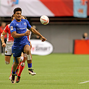 Manu Samoa's Joe Perez outruns France to successfully convert a try in overtime to give Samoa a 26-21 victory over France in the Canada 7's Trophy Quarter Final at BC Place, Vancouver, Canada.  Photo by Barry Markowitz, 3/12/17