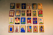 Children's art pictures inside historic Nykirken church, city of Bergen, Norway