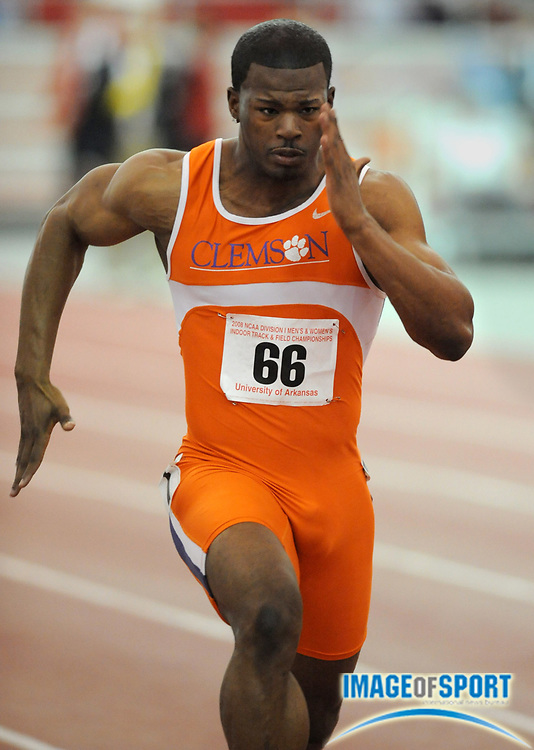 Mar 14, 2008; Fayetteville, AR, USA; Travis Padgett of Clemson wins 60m heat in 6.61 in the NCAA indoor track and field championships at the Randal Tyson Center.
