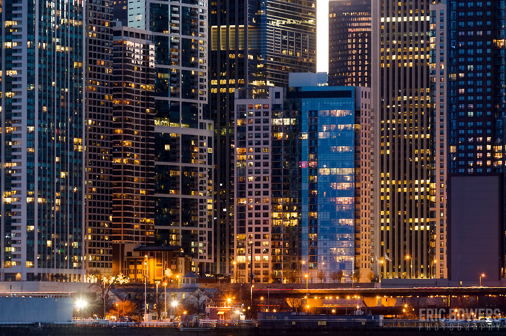 Chicago Near North Side highrise buildings at dusk, view from tip of Navy Pier.