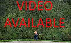 VIDEO AVAILABLE TO DOWNLOAD AT https://we.tl/YSbq7z7XOw  © Licensed to London News Pictures. 07/08/2017. Cirencester, UK. Forester Jason Buckton trims the world's tallest yew hedge on The Bathurst Estate.  The 40 foot tall 150 yard wide hedge is trimmed every august over a two week period. Six inches of growth are cut making a ton of clippings. The clippings have been used in past years in the making of a cancer drug.   Photo credit: Peter Macdiarmid/LNP