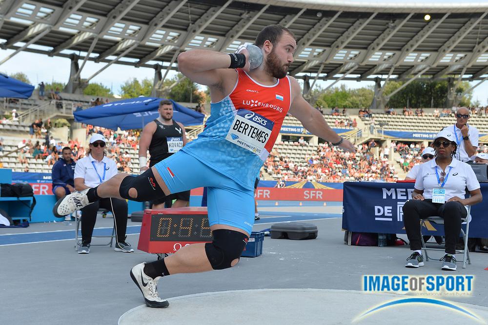 Bob Bertemes (LUX) places ninth in the shot put at 69-6¾ (21.20m) during the Meeting de Paris, Saturday, Aug. 24, 2019, in Paris. (Jiro Mochizuki/Image of Sport via AP)