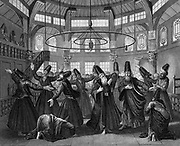 Dervishes, members of Muslim religious order founded in the 12th century, dancing and performing ritual of 'remembering' god in self-induced ecstatic trance. 19th century engraving.