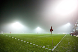 NEWPORT, WALES - Sunday, November 1, 2015: Fog descends as Wales take on Scotland during the Under-16's Victory Shield International match at Dragon Park. (Pic by David Rawcliffe/Propaganda)