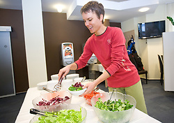 Teja Gregorin at lunch after training session of Slovenian biathlon team before new season 2009/2010,  on November 16, 2009, in Pokljuka, Slovenia.   (Photo by Vid Ponikvar / Sportida)