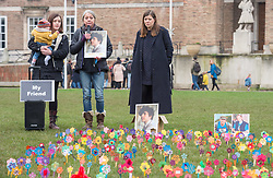 "© Licensed to London News Pictures. 25/01/2020. Bristol, UK. Anyone's Child: Families for Safer Drug Control campaign; ""Take drugs seriously"" event at Bristol's College Green, planting 'forget-me-not' flowers to remember those who have died as a result of what the campaign says are dangerous drug policies in the UK. Luke Campbell was aged 16 when he died on 27 May 2017 and his family spoke at the event; Left-right: Luke's sister ESTHER CAMPBELL with Dali age 5 months, Luke's mother CLAIRE CAMPBELL, Luke's aunt JENNY SMITH speak at the ""Take drugs seriously"" event. The event is in remembrance for the 4000 plus people that die every year in the UK from the effects of drugs. One in three of all drug related deaths in Europe now happen in the UK. Anyone's Child is a campaign by Transform Drug Policy Foundation to end the war on drugs, better protect children, and get drugs under control. Anyone's Child: Families for Safer Drug Control is an international network of families whose lives have been wrecked by current drug laws and are now campaigning to change them. They are now calling for governments to be honest and base drug policy on reality, not fear, which they say means regulating drugs to reduce the risks they pose. Photo credit: Simon Chapman/LNP."