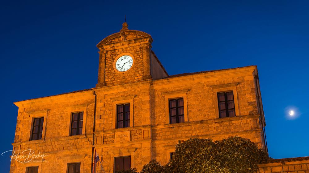 Illuminated clock and moonlit night, Ston, Dalmatian Coast, Croatia