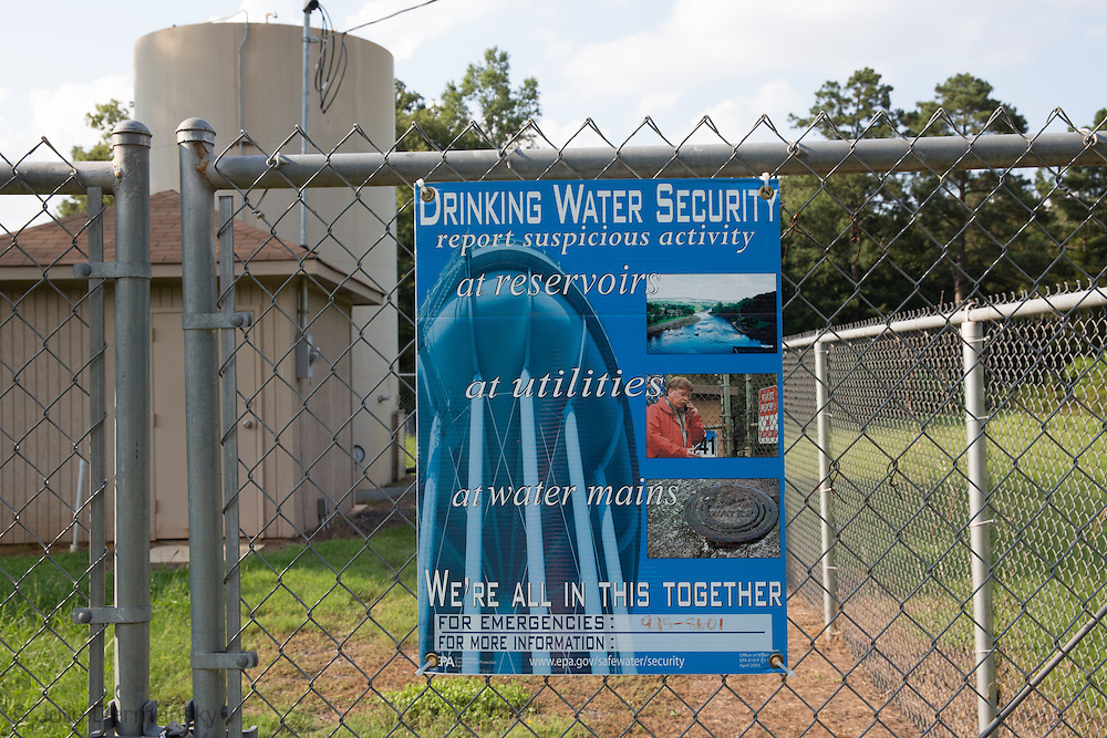 Fenced in public water utility  site in Keithville Louisiana. Many in the area complain their water went bad shortly after the fracking industry began drilling in the area 4 years ago.