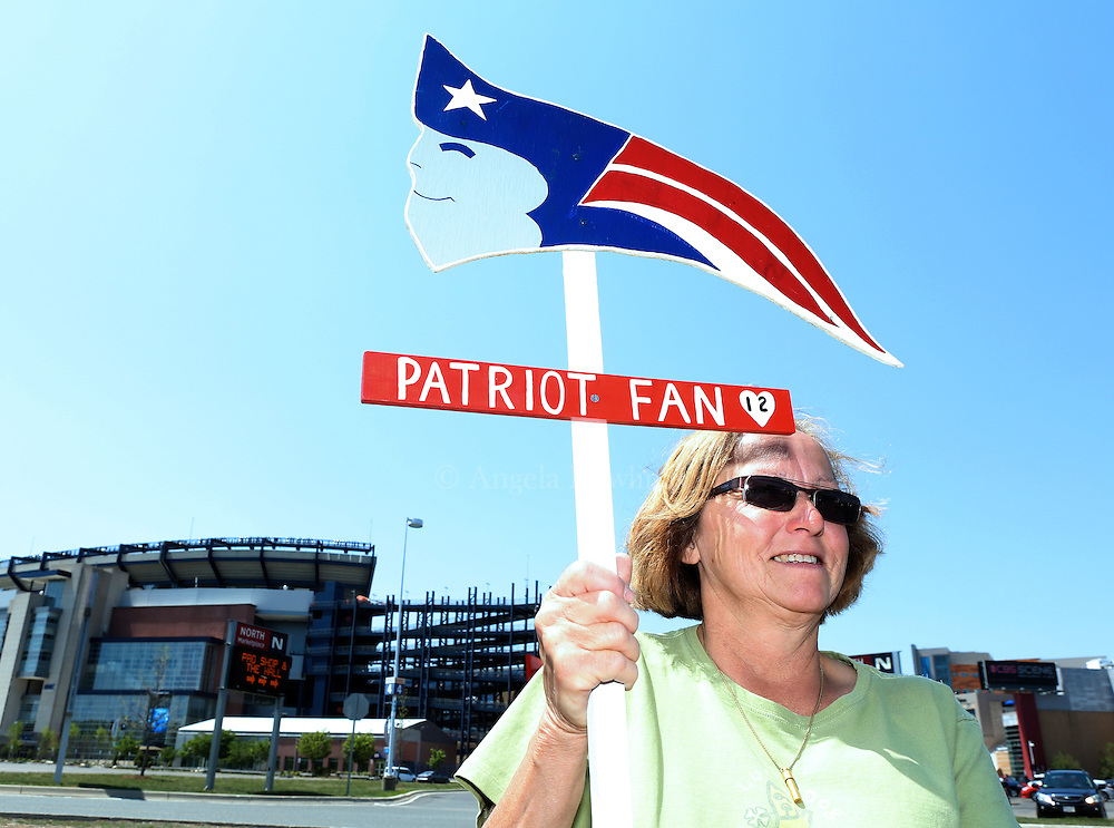 "(Foxboro, MA - 5/24/15) Anne Urban of Attleboro joins Patriots fans for a ""Free Tom Brady"" rally at Gillette Stadium, Sunday, May 24, 2015. Staff photo by Angela Rowlings."