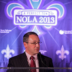 Sep 2, 2009; New Orleans, LA, USA; Frank Supovitz the senior vice president of special events for the NFL talks during a Super Bowl XLVII press conference at the New Orleans Convention Center and Bureau.   Mandatory Credit: Derick E. Hingle-US-PRESSWIRE