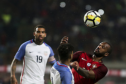 November 14, 2017 - Leiria, Portugal - Bruno Fernandes (R) vies with DeAndre Yedlin  during the Friendly match  football match between Portugal and USA at Municipal de Leiria Stadium in Leiria on November 14, 2017. (Credit Image: © Carlos Costa/NurPhoto via ZUMA Press)