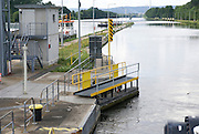 Lock on the Rhine River Gates Opening near Miltenberg