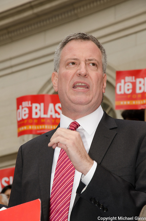 NYC, NY, USA Unions come out in force to endorse candidate Bill DeBlasio for NYC Mayor