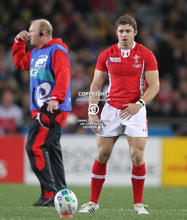 AUCKLAND, NEW ZEALAND - OCTOBER 21, Leigh Halfpenny during the 2011 IRB Rugby World Cup 3rd &amp; 4th playoff match between Australia and Wales at Eden Park on October 21, 2011 in Auckland, New Zealand<br /> Photo by Steve Haag / Gallo Images