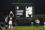 Tribute to Northampton fan Harry Dunn during the The FA Cup match between Northampton Town and Derby County at the PTS Academy Stadium, Northampton, England on 24 January 2020.