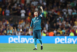 August 13, 2017 - Barcelona, Spain - Sergio Ramos of Real Madrid celebrates at the end of the Spanish Super Cup football match between FC Barcelona and Real Madrid on August 13, 2017 at Camp Nou stadium in Barcelona, Spain. (Credit Image: © Manuel Blondeau via ZUMA Wire)