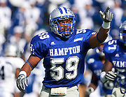 Hampton senior linebacker Darius Johnson reacts after his fumble recovery during their 28 - 14 loss to Old Dominion at Armstrong Stadium on the campus of Hampton University in Hampton, Virginia.  (Photo by Mark W. Sutton)