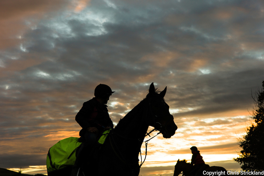 Bonchester Bridge, Hawick, Scottish Borders, UK. 25th November 2015. Jockey Joanna Walton and trainer Di Walton schooling point to pointers at sunset in the Scottish Borders.
