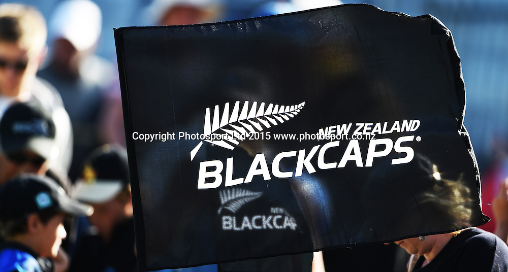 BlackCaps flag. ANZ One Day International Cricket Series. Match 6 between New Zealand Black Caps and Sri Lanka at University Oval in Dunedin. New Zealand. Sunday 25 January 2015. Copyright Photo: Andrew Cornaga/www.Photosport.co.nz