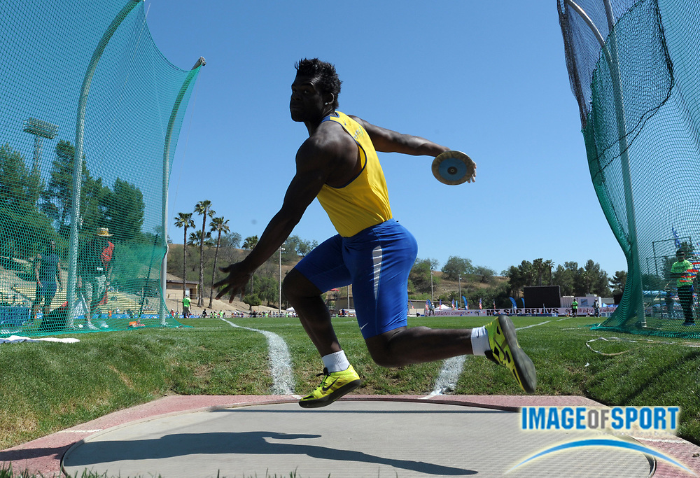 Apr 19, 2013; Walnut, CA, USA; Ronald Odair de Oliveira(BRA) finishes second in the invitational discus at 197-3 (60.12m) in the 55th Mt. San Antonio College Relays at Hilmer Lodge Stadium.