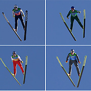 Winter Olympics, Vancouver, 2010.The Austrian Gold Medal Ski Jumping Team, Wolfgang Loitzl, top left, Andreas Kofler, top right, Thomas Morgenstern, bottom left,  and Gregor Schlierzauer, bottom right, in action during their win at Whistler Olympic Park , Whistler, during the Vancouver Winter Olympics. 22nd February 2010. Photo Tim Clayton