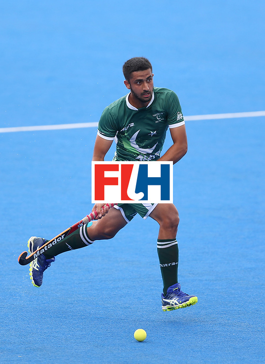 LONDON, ENGLAND - JUNE 24:  Muhammad Yaqoob of Pakistan in action during the 5th-8th place match between Pakistan and India on day eight of the Hero Hockey World League Semi-Final at Lee Valley Hockey and Tennis Centre on June 24, 2017 in London, England.  (Photo by Steve Bardens/Getty Images)