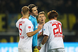 25.01.2014, Signal Iduna Park, Dortmund, GER, 1. FBL, Borussia Dortmund vs FC Augsburg, 18. Runde, im Bild l-r: Ragnar KLAVAN #5 (FC Augsburg), Marwin HITZ #35 (FC Augsburg), Matthias OSTRZOLEK #19 (FC Augsburg), Jeong-Ho HONG #20 (FC Augsburg), Borussia Dortmund vs FC Augsburg, Fussball, 1 Bundesliga, // during the German Bundesliga 18th round match between Borussia Dortmund and FC Augsburg at the Signal Iduna Park in Dortmund, Germany on 2014/01/25. EXPA Pictures &copy; 2014, PhotoCredit: EXPA/ Eibner-Pressefoto/ Kolbert<br /> <br /> *****ATTENTION - OUT of GER*****