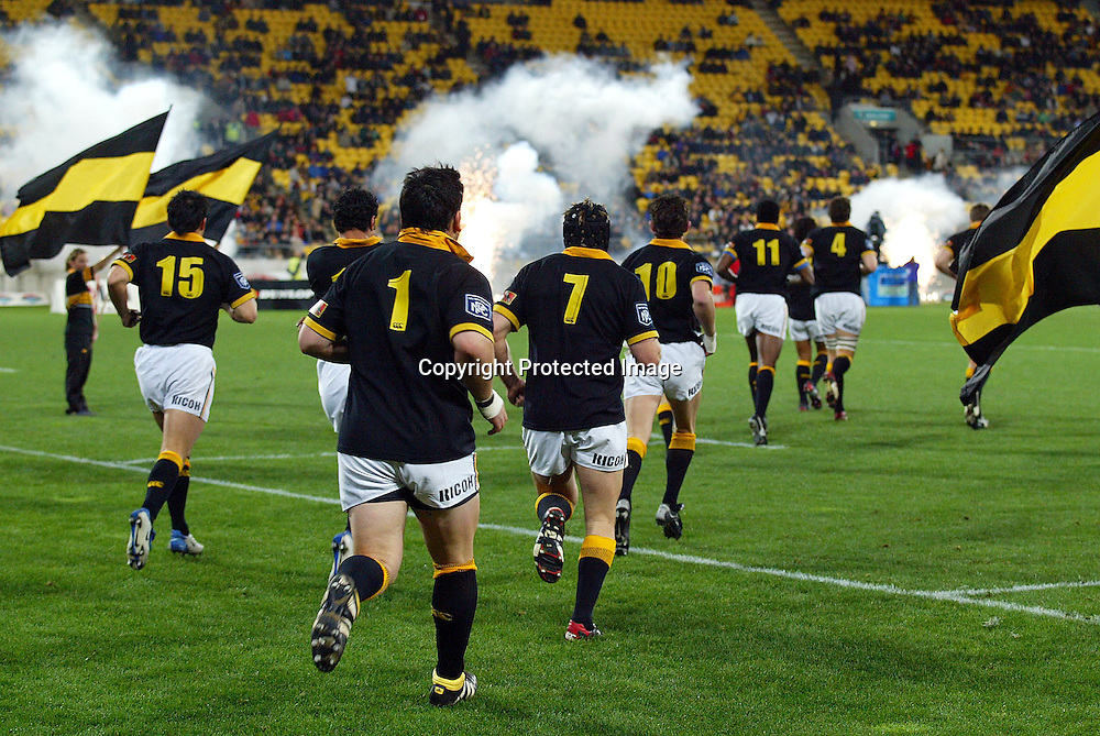 3 August 2004, Westpac Stadium, Wellington, <br /> New Zealand, Rugby Union, NPC Div 1<br /> Wellington Lions vs Canterbury<br /> the Wellington Lion's run out onto the field during Wellington's 34-22 win over Canterbury on Friday night.<br /> Please Credit: Marty Melville/Photosport