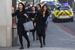 © Licensed to London News Pictures. 06/06/2018. London, UK. People run from the scene of a fire at the Mandarin Oriental Hotel in Knightsbridge where a fire has broken out. Photo credit: Rob Pinney/LNP