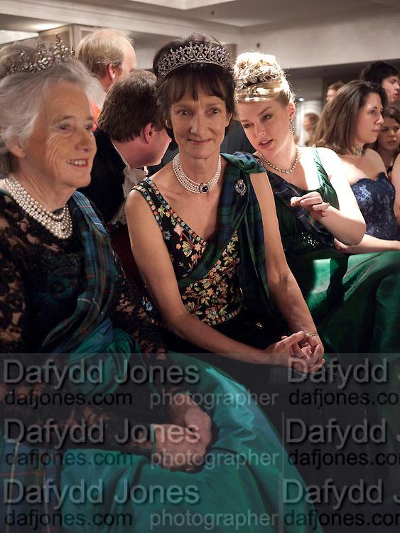 THE COUNTESS OF ROSEBERY; IONA DUCHESS OF ARGYLL; LADY DALMENY; ;  The Royal Caledonian Ball 2010. Grosvenor House. Park Lane. London. 30 April 2010 *** Local Caption *** -DO NOT ARCHIVE-© Copyright Photograph by Dafydd Jones. 248 Clapham Rd. London SW9 0PZ. Tel 0207 820 0771. www.dafjones.com.<br /> THE COUNTESS OF ROSEBERY; IONA DUCHESS OF ARGYLL; LADY DALMENY; ;  The Royal Caledonian Ball 2010. Grosvenor House. Park Lane. London. 30 April 2010