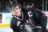 KELOWNA, CANADA -FEBRUARY 5: Conner Bleackley C #9 of the Red Deer Rebels skates during warm up against the Kelowna Rockets on February 5, 2014 at Prospera Place in Kelowna, British Columbia, Canada.   (Photo by Marissa Baecker/Getty Images)  *** Local Caption *** Conner Bleackley;