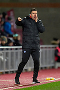 Gary Caldwell, manager of Partick Thistle FC shouts encouragement during the William Hill Scottish Cup quarter final replay match between Heart of Midlothian and Partick Thistle at Tynecastle Stadium, Gorgie, Edinburgh Scotland on 12 March 2019.