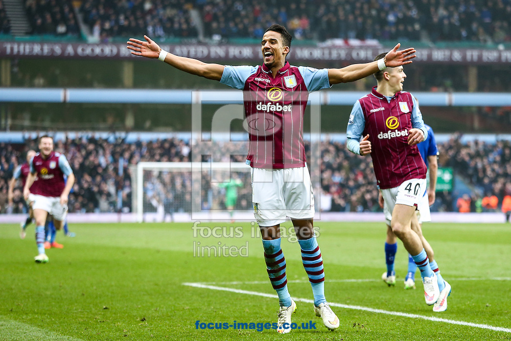 Leandro Bacuna of Aston Villa (left)  celebrates scoring their second goal during the FA Cup match at Villa Park, Birmingham<br /> Picture by Andy Kearns/Focus Images Ltd 0781 864 4264<br /> 15/02/2015