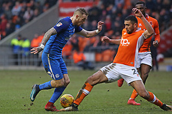 Marcus Maddison of Peterborough United is tackled by Colin Daniel of Blackpool - Mandatory by-line: Joe Dent/JMP - 18/02/2018 - FOOTBALL - Bloomfield Road - Blackpool, England - Blackpool v Peterborough United - Sky Bet League One