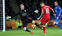 Football - 2016 / 2017 Premier League - Leicester City vs. Liverpool<br /> <br /> Kasper Schmeichel of Leicester City saves from Philippe Coutinho of Liverpool during the match at The King Power Stadium.<br /> <br /> COLORSPORT/LYNNE CAMERON