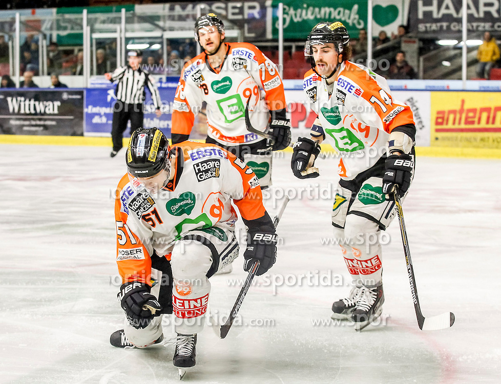 22.02.2015, Eisstadion Liebenau, Graz, AUT, EBEL, Moser Medical Graz 99ers vs HC TWK Innsbruck, 50. Runde, im Bild Daniel Woger (Moser Medical Graz 99ers), Philipp Pinter (Moser Medical Graz 99ers) und Luke Walker (Moser Medical Graz 99ers) // Daniel Woger (Moser Medical Graz 99ers), Philipp Pinter (Moser Medical Graz 99ers) and Luke Walker (Moser Medical Graz 99ers) during the Erste Bank Icehockey League 50th Round match between Moser Medical Graz 99ers and HC TWK Innsbruck at the Ice Stadium Liebenau, Graz, Austria on 2015/02/22, EXPA Pictures © 2015, PhotoCredit: EXPA/ Erwin Scheriau