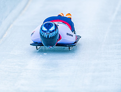 17.01.2020, Olympia Eiskanal, Innsbruck, AUT, BMW IBSF Weltcup Bob und Skeleton, Igls, Skeleton, Herren, 1. Lauf, im Bild Austin Florian (USA) // Austin Florian of the USA in action during his 1st run of men's Skeleton competition of BMW IBSF World Cup at the Olympia Eiskanal in Innsbruck, Austria on 2020/01/17. EXPA Pictures © 2020, PhotoCredit: EXPA/ Stefan Adelsberger