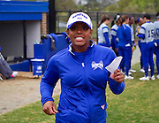 Hampton University Softball Coach Trena Peel heads over to present her line-up card prior to their first game of their doubleheader split against Morgan State University at the Lady Pirates Softball Complex on the campus of Hampton University in Hampton, Virginia.  (Photo by Mark W. Sutton)