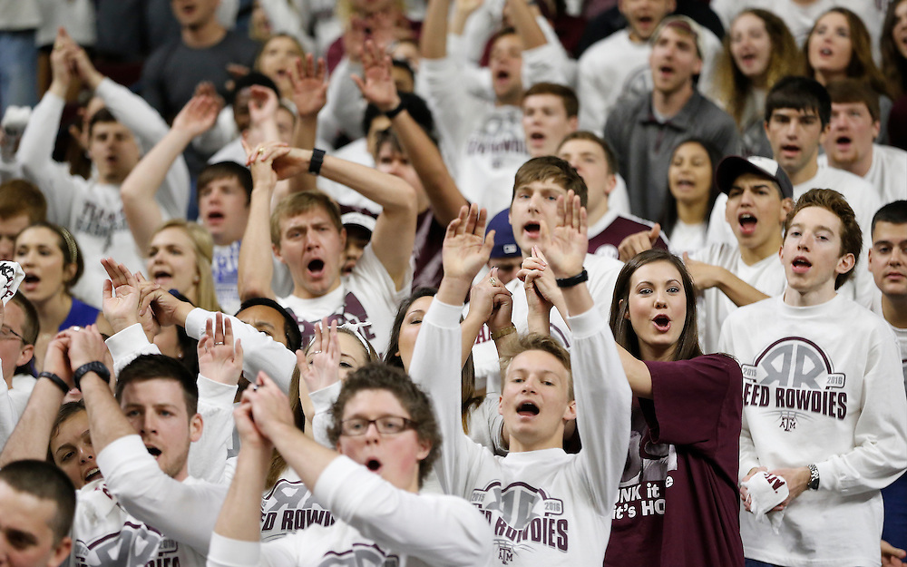 Jan 30, 2016; College Station, TX, USA;  Texas A&M Aggies fan cheer against the Iowa State Cyclones at Reed Arena. A&M won 72 to 62. Mandatory Credit: Thomas B. Shea-USA TODAY Sports