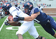Eugene Brazley (3) is tackled by John Youngblood (47) during Mississippi's Grove Bowl controlled scrimmage at Vaught-Hemingway Stadium in Oxford, Miss. on Saturday, April 5, 2014. (AP Photo/Oxford Eagle, Bruce Newman)