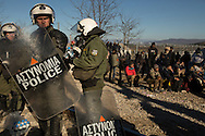 Riot police were called in from the nearby city of Thessaloniki on December 3, 2015 to disperse a group of asylum seekers who had barricaded the Greek border crossing to Macedonia the day before in protest of recent border restrictions.