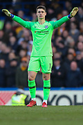 Chelsea goalkeeper Kepa Arrizabalaga (1) during the Premier League match between Chelsea and Wolverhampton Wanderers at Stamford Bridge, London, England on 10 March 2019.