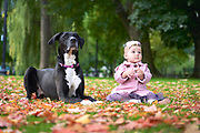 Puppy and baby in Boston Public Gardens