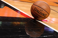 Dec 23, 2013; Phoenix, AZ, USA; Detail view of a Spalding basketball sitting on the court during the Los Angeles Lakers and Phoenix Suns at US Airways Center. The Suns won 117-90. Mandatory Credit: Jennifer Stewart-USA TODAY Sports