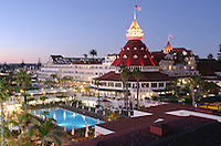 Hotel Del Mar at sunset in Coronado, California.