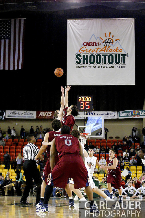 11/22/2006 - Anchorage, Alaska: Tip off as Loyola Marymount defeats the University of Alaska-Anchorage 69-58 in the first game of the 2006 Great Alaska Shootout<br />