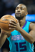 MEMPHIS, TN - OCTOBER 30:  Kemba Walker #15 of the Charlotte Hornets shoots a free throw during a game against the Memphis Grizzlies at the FedEx Forum on October 30, 2017 in Memphis, Tennessee.  NOTE TO USER: User expressly acknowledges and agrees that, by downloading and or using this photograph, User is consenting to the terms and conditions of the Getty Images License Agreement.  The Hornets defeated the Grizzlies 104-99.  (Photo by Wesley Hitt/Getty Images) *** Local Caption *** Kemba Walker